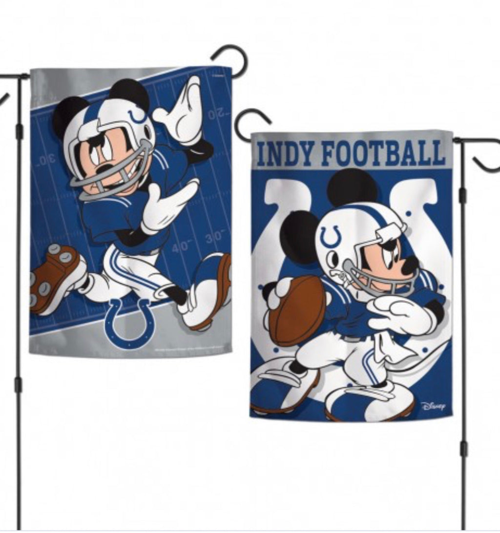 "Indianapolis Colts Mickey Mouse 2 Sided Garden Flag 12.5"" X 18"""