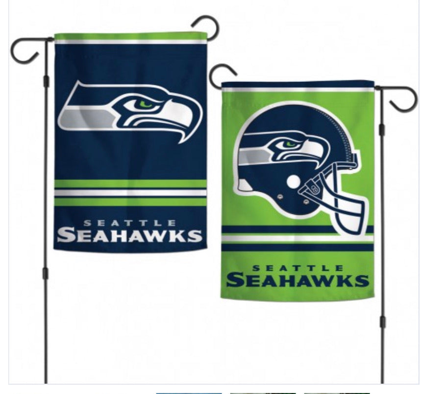 "Seattle Seahawks 2 Sided Garden Flag 12.5"" X 18"""