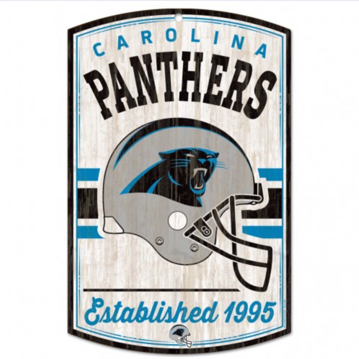 "Carolina Panthers / Classic Logo Retro Wood Sign 11"" X 17"" 1/4"" Thick - AtlanticCoastSports"