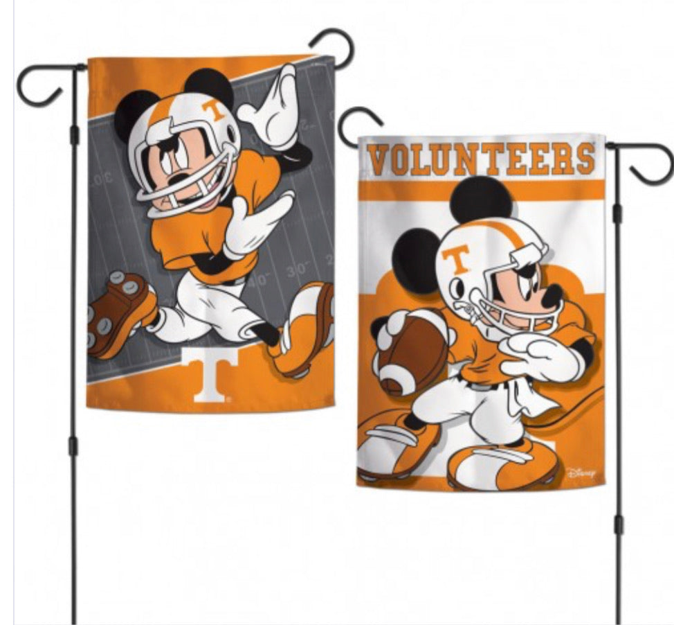 "Tennessee Vols Mickey Mouse 2 SIded  Garden Flag 12.5"" X 18"""