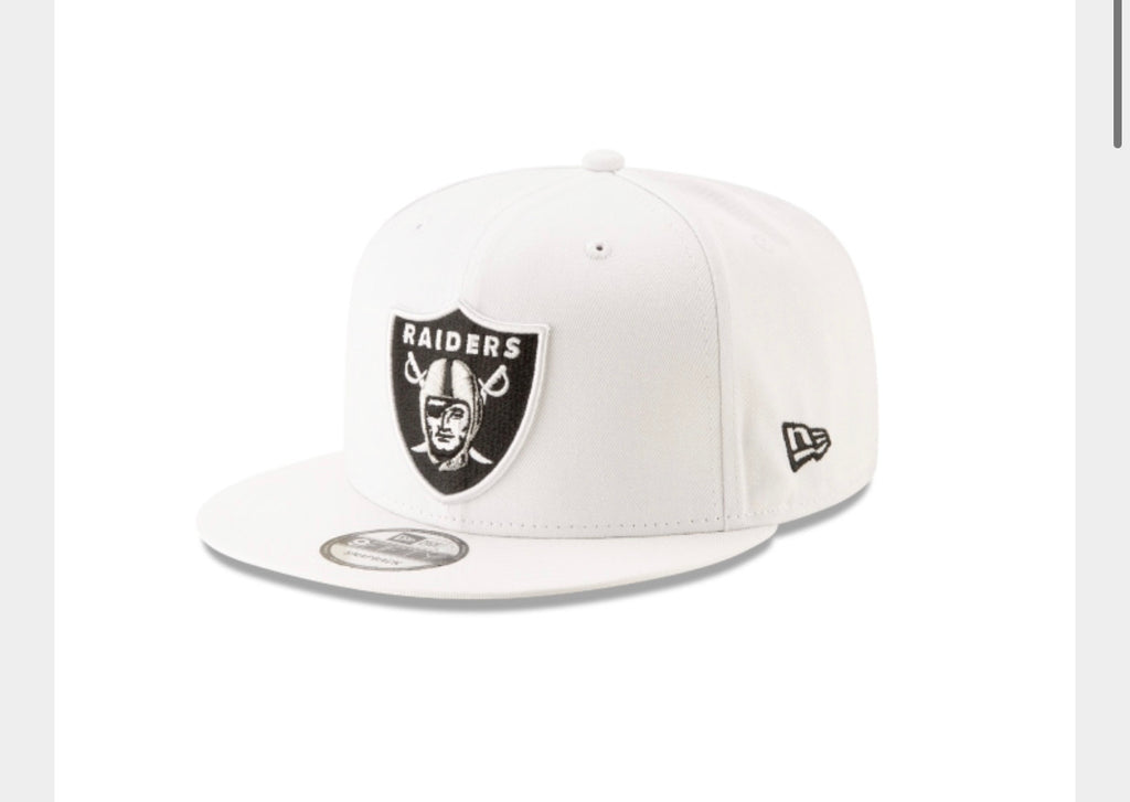 Las Vegas Raiders New Era 950 Snap Back Basic White Hat - AtlanticCoastSports
