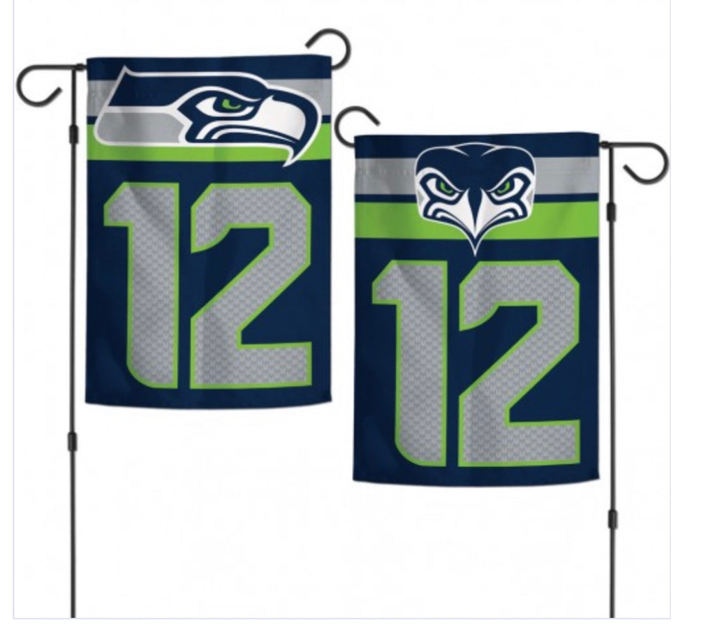 "Seattle Seahawks 12th man 2 SIded Garden Flag 12.5"" X 18"""