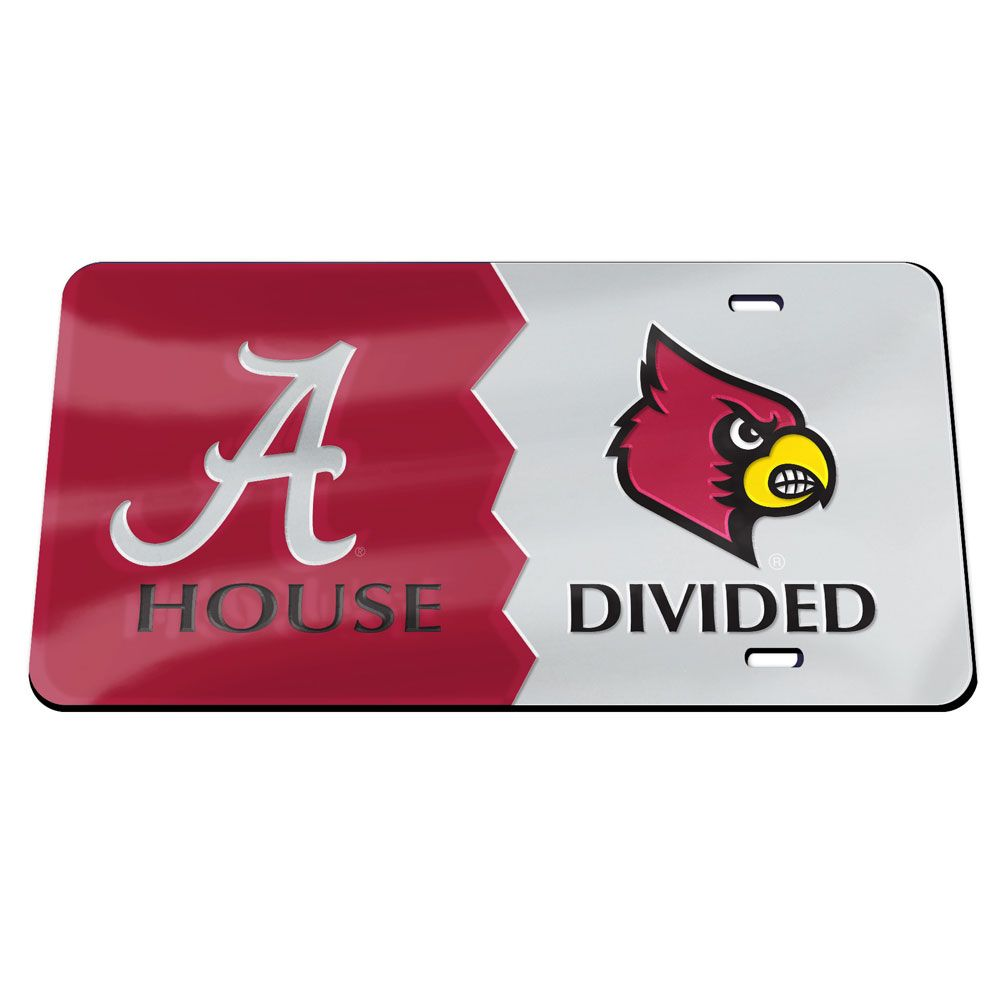 Alabama Crimson Tide Louisville Cardinals House Divided Specialty Acrylic License Plate