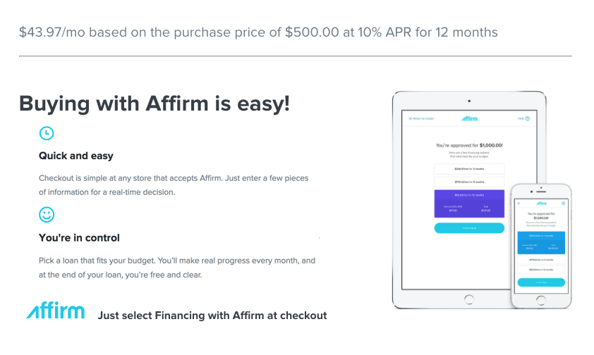 Superfly Bonsai has partnered with Affirm to give you a simple way to make your purchase with no hidden fees.