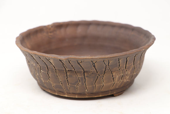Brian Soldano Crackled Unglazed Round Bonsai Pot - 7.75