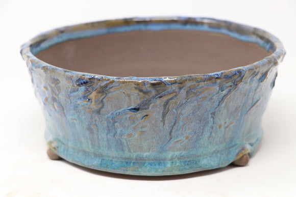 Brian Soldano Blue Glazed Round Bonsai Pot - 7.75