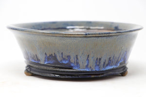 "Brian Soldano Blue Glazed Round Bonsai Pot - 7.75"" x 2.5"""