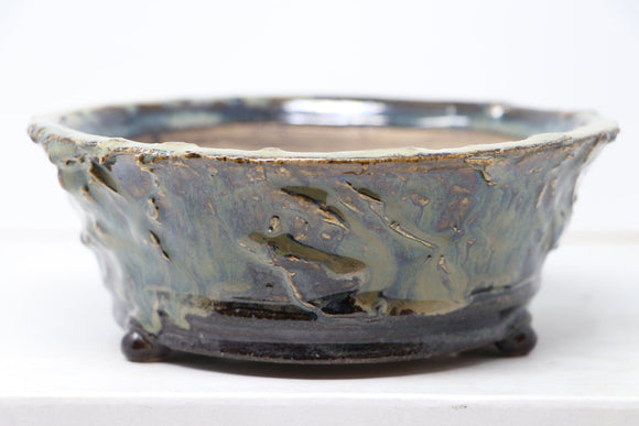Brian Soldano Blue/Green Glazed Round Bonsai Pot - 6.5