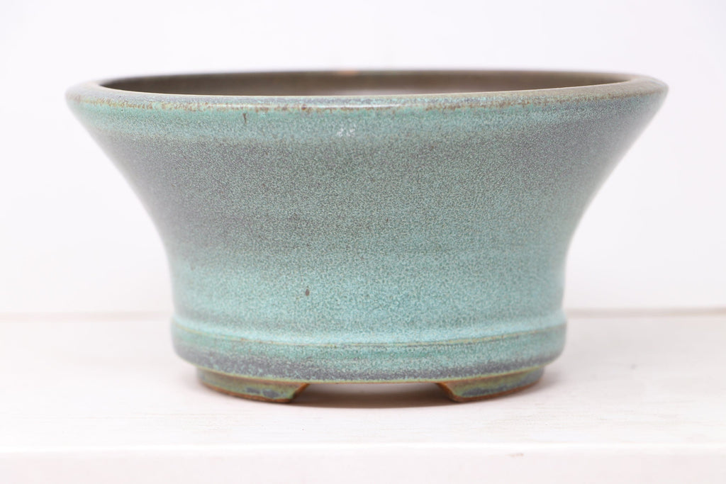 "Ross Adams Glazed Blue/Green/Teal Round Fancy Bonsai Pot - 7.25"" x 3.5"""