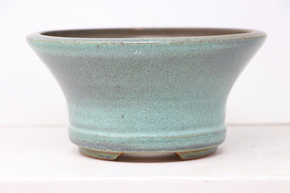 Ross Adams Glazed Blue/Green/Teal Round Fancy Bonsai Pot - 7.25