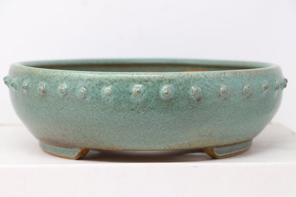 Ross Adams Glazed Green Drum Round Bonsai Pot With Rivets - 10