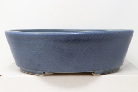 Ross Adams Glazed Blue Larger Round Bonsai Pot - 12.25
