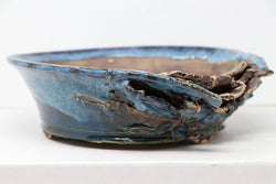 "Brian Soldano Blue Glazed Torn Bonsai Pot - 8"" x 2.5"""