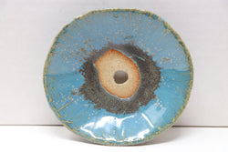 "Roy Minarai Glazed Blue Round Bonsai Accent Pot - 4.25"" x .75"""