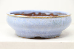 "Sam Miller Glazed Light Blue Round Bonsai Pot - 6"" X 2"""