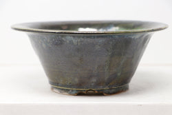 "Sam Miller Glazed Dark Blue/Green Round Bonsai Pot - 7"" x 2.75"""