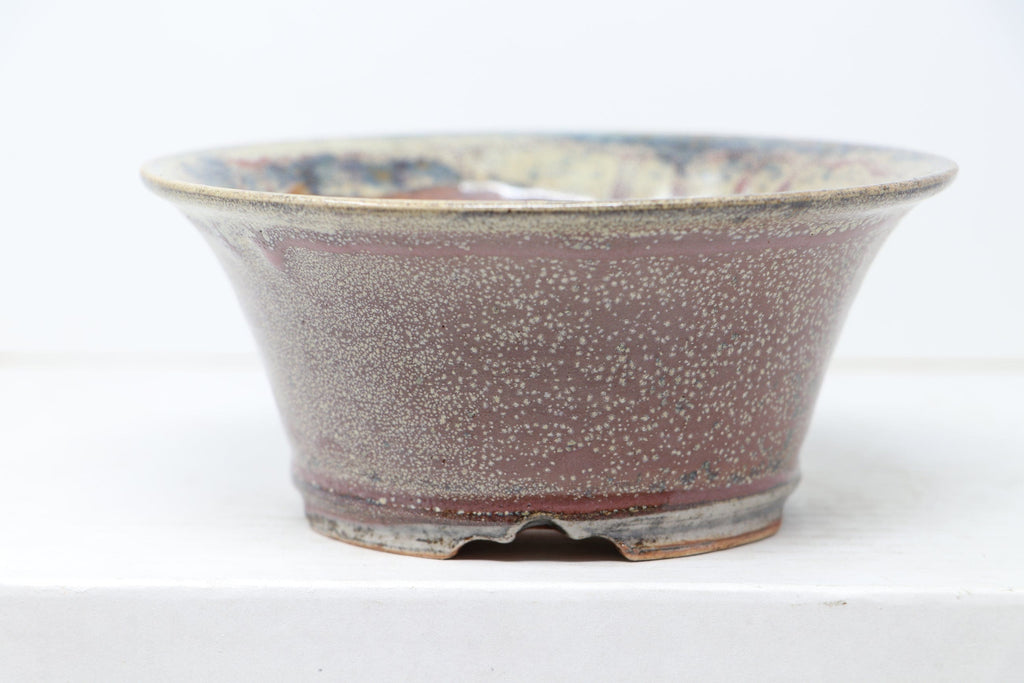 "Sam Miller Glazed Dark Blue/Pink/Green Round Bonsai Pot - 6"" x 2.5"""