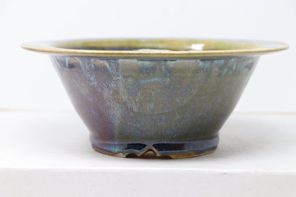 Sam Miller Glazed Dark Blue/Purple/Green Round Bonsai Pot - 7.75