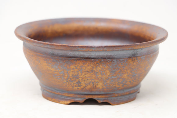 Sam Miller Unglazed Round With Iron Stain Bonsai Pot - 6.25