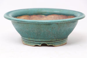 "Sam Miller Glazed Blue/Green Round Bonsai Pot - 7.5"" x 2.5"""