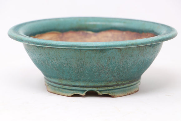 Sam Miller Glazed Blue/Green Round Bonsai Pot - 7.5