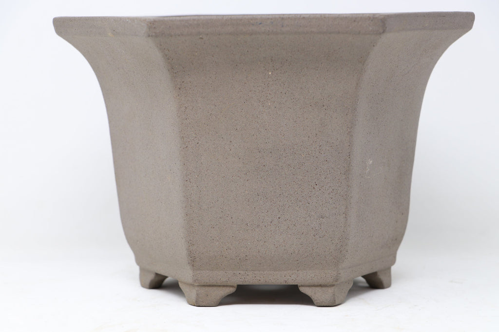 "Japanese Semi Cascade Polygon Fancy Bonsai Pot by - 9.5"" x 6.25"""