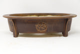"David Bennett Rose Flower Oval Brown Glazed Bonsai Pot - 11.5"" x 8.75"" x 3"""