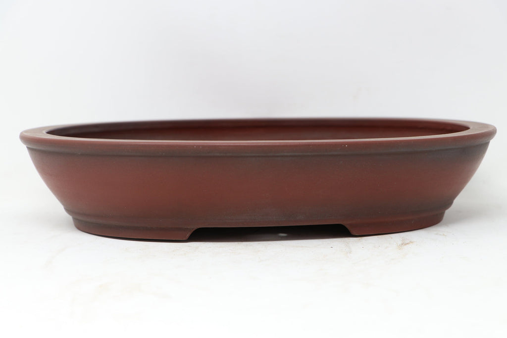 "Bigei Japanese Oval Unglazed Bonsai Pot - 12.25"" x 9.5"" x 2.65"""