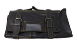 The Kiku Pro 13 Leather Bonsai Tool Roll Case-  11 Pockets + 2 Zipper - Black Leather