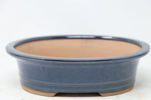 "Chinese Production Blue Oval Bonsai Pot - Glazed - 8.5"" x 6.75"" x 2.5"""