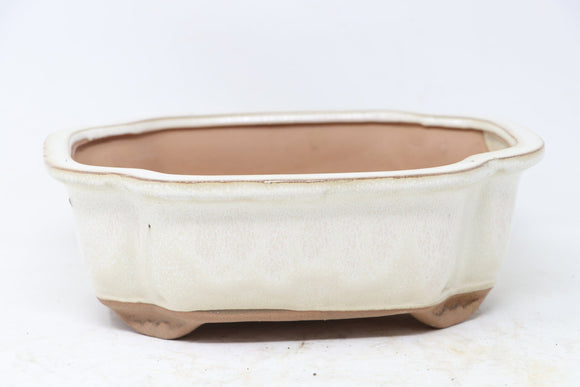 Chinese Production Cream Mokko Bonsai Pot - Glazed - 8.25