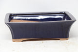 "Chinese Production Blue Rectangle Bonsai Pot - Glazed - 7.75"" X 5.75"" X 2.25"""