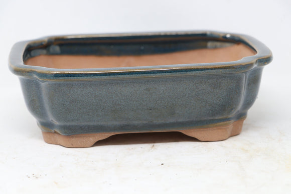 Chinese Production Blue Rectangle Bonsai Pot - Glazed - 7.5