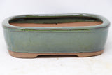 "Chinese Production Green Rounded Rectangle Bonsai Pot - Glazed - 8.5"" x 6.5"" x 2.5"""