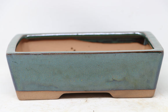 Chinese Production Green Rectangle Bonsai Pot - Glazed - 7.5