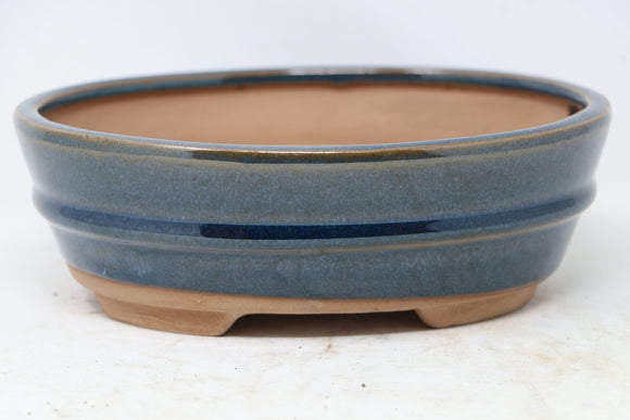 Chinese Production Blue Oval Bonsai Pot - Glazed - 7.5