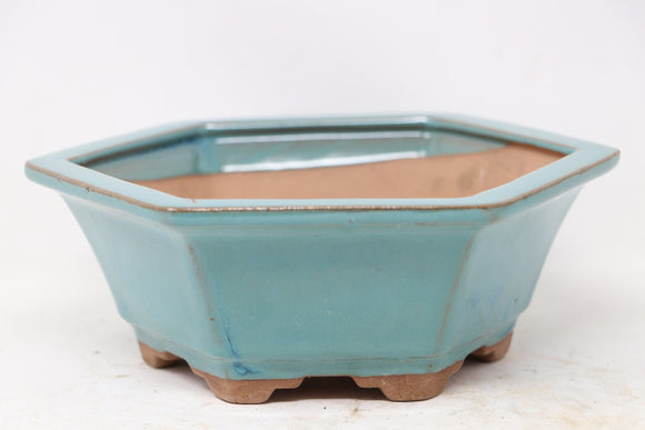 Chinese Production Blue Hexagon Bonsai Pot - Glazed - 7.25