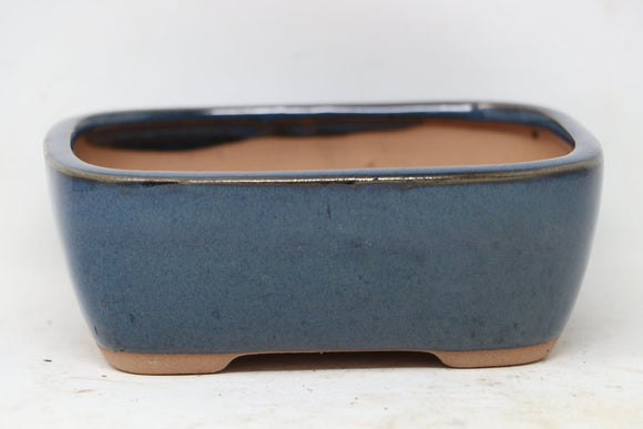 Chinese Production Blue Rounded Rectangle Bonsai Pot - Glazed - 5.5
