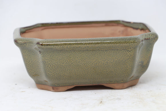 Chinese Production Green Rectangle Bonsai Pot - Glazed - 5.5