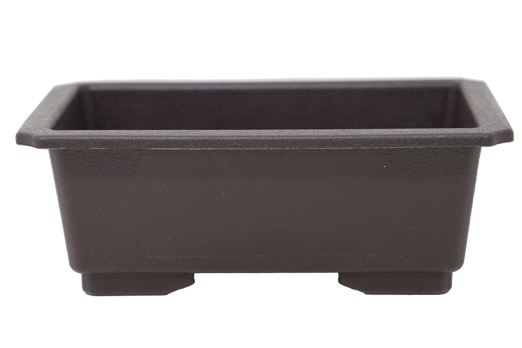 "LD-F013-6 - 7.25"" x 5.25"" x 2.75"" Rectangle Deep Brown Plastic Bonsai Training Pot"