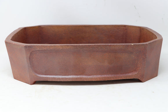 David Bennette Brown/Red Rectangle Bonsai Pot - Glazed - 13.75