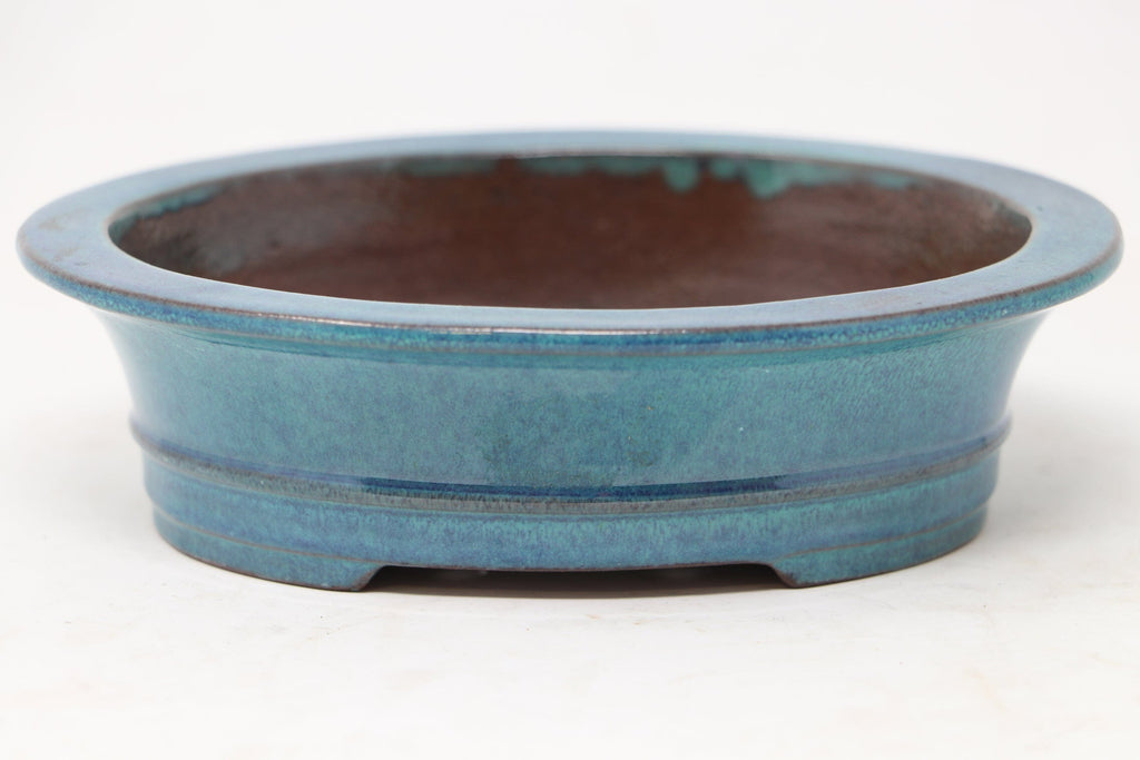 "Chinese Production Blue/Green Oval Bonsai Pot - Glazed- 6"" x 4.75"" x 1.75"""