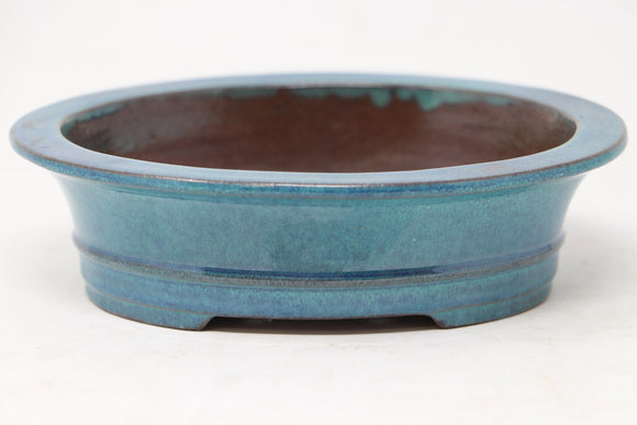 Chinese Production Blue/Green Oval Bonsai Pot - Glazed- 6