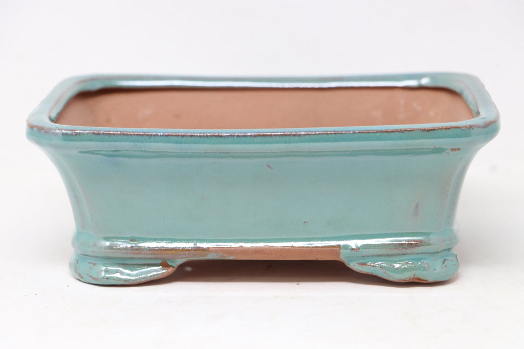 "Put Tree In This Pot - Chinese Production Blue Rectangle Bonsai Pot - Glazed- 7.5"" x 5.75"" x 2.75"""