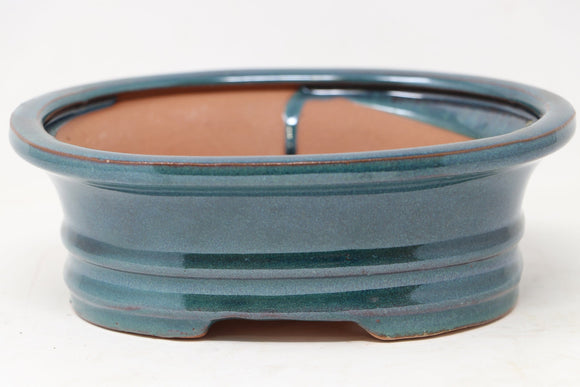 Chinese Production Blue/Green Oval Bonsai Pot - Glazed- 7.25