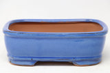 "Chinese Production Blue Rectangle Bonsai Pot - Glazed- 8"" x 5.5"" x 2.75"""