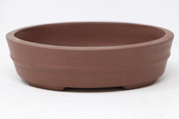 Chinese Production Brown Oval Bonsai Pot - Unglazed- 6.75