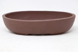 "Chinese Production Brown Oval Bonsai Pot - Unglazed- 7.5"" x 4.75"" x 1.75"""