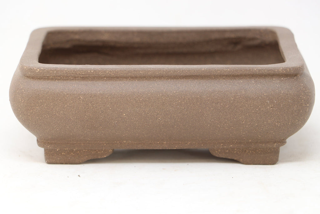 "Chinese Production Brown Rectangle Bonsai Pot - Unglazed- 6.25"" x 4.75"" x 2.25"""