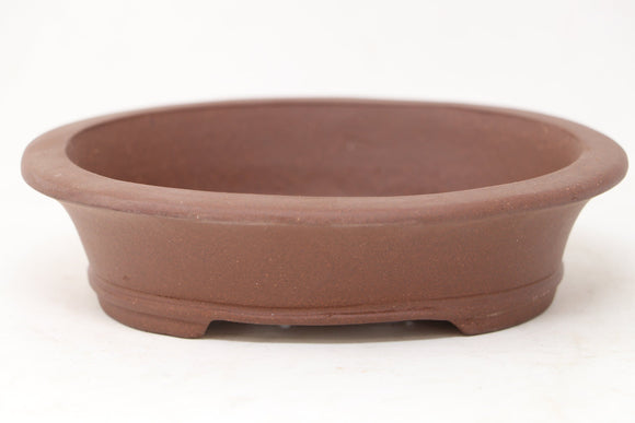 Chinese Production Brown Oval Bonsai Pot - Unglazed- 6.25
